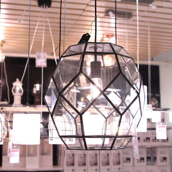 Taklampa i glas och metall från Gekås Ullared