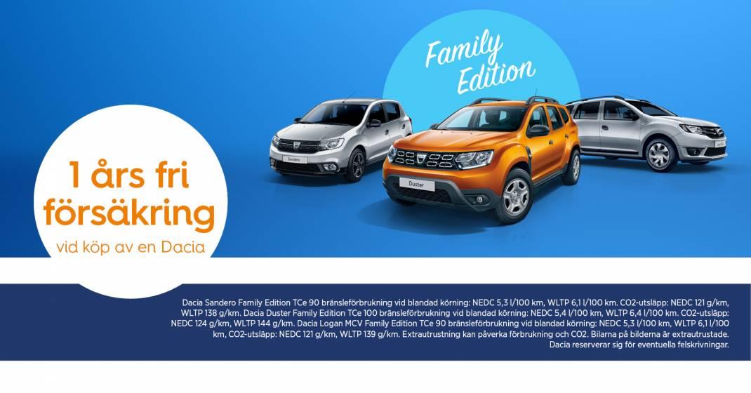 Dacia Family edition - nu med 1 års fri försäkring vid köp av en Dacia